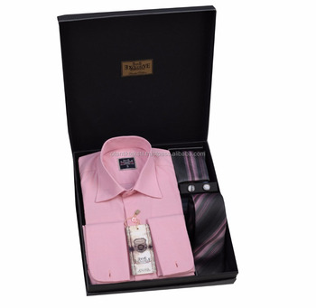 Pink Gift Box, shirt box tie set, set French cuflin shirt in box