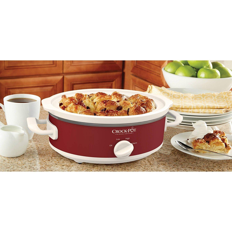 Crock-Pot Casserole Crock Mini Oval Slow Cooker, 2.5-Quart, Red