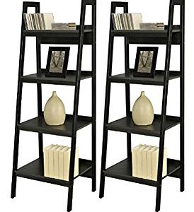 K&A Company Set of 2 - Black 4-Shelf Modern Ladder Style Bookcase Storage Wood Shelves Home Display 20.6 x 18.5 x 60 inches