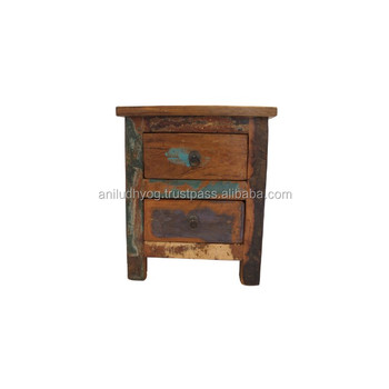 Reclaimed Teak Wood Bedside Table Two Drawers Buy Reclaimed Teak Bedside Table Two Drawers Distress Wood Bed Side Table Old Boat Wood