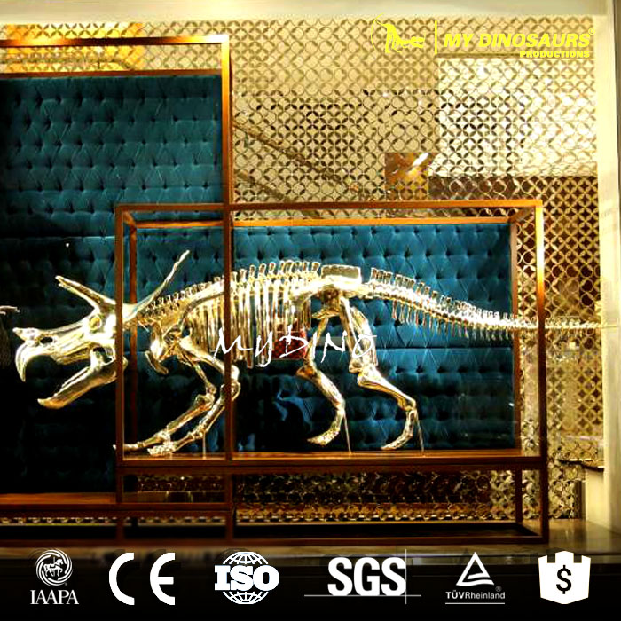My-dino JL27-2 Showcase Decorative Model Life Size Golden Dinosaur Skeleton