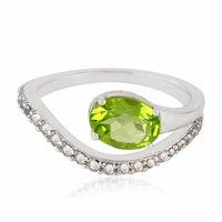 Special Gift Pave Band Ring 1.32ct Peridot White Topaz 925 Sterling Silver