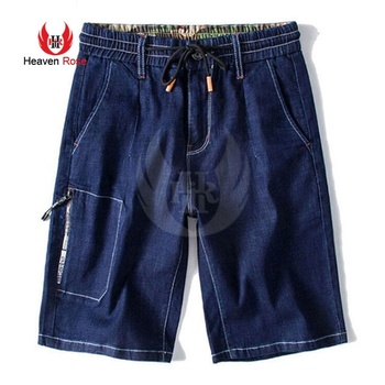 Men Navy Jean Slim Fit Cargo Shorts With Black Metal Drawcards Tip For Sale