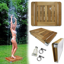 Innovative Jump-On Outdoor Shower made of Teak Wood Foot Touch Technology Shower for Garden and Swimming Pool 22 Water Fountains