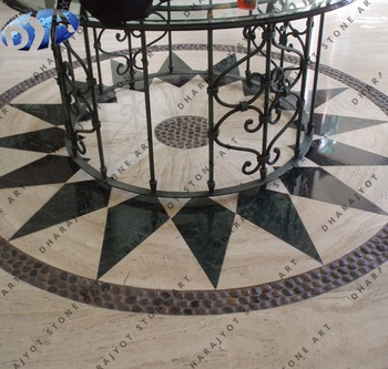 Marble Stone Round Inlay Flooring Designs