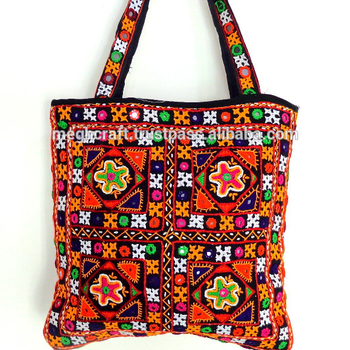 Vintage handmade kutch embroidered handbag - Gujarati tribal gypsy shoulder  bag - Wholesale banjara handbag - e45acab9a6f9f