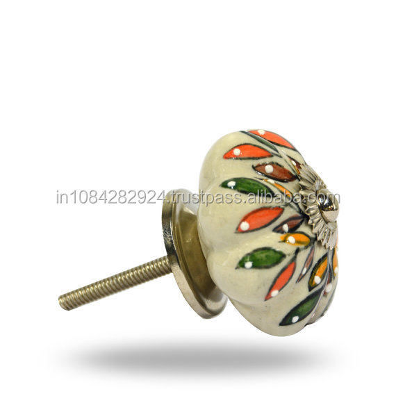 Scalloped Decorative Ceramic Knob wiath Chrome Hardware..