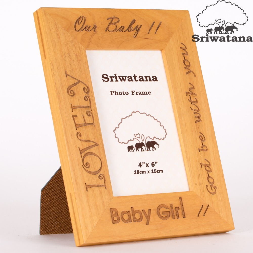 High Quality Laser Engraved Baby Girl Wooden Picture Photo Frame Customized Size and Color