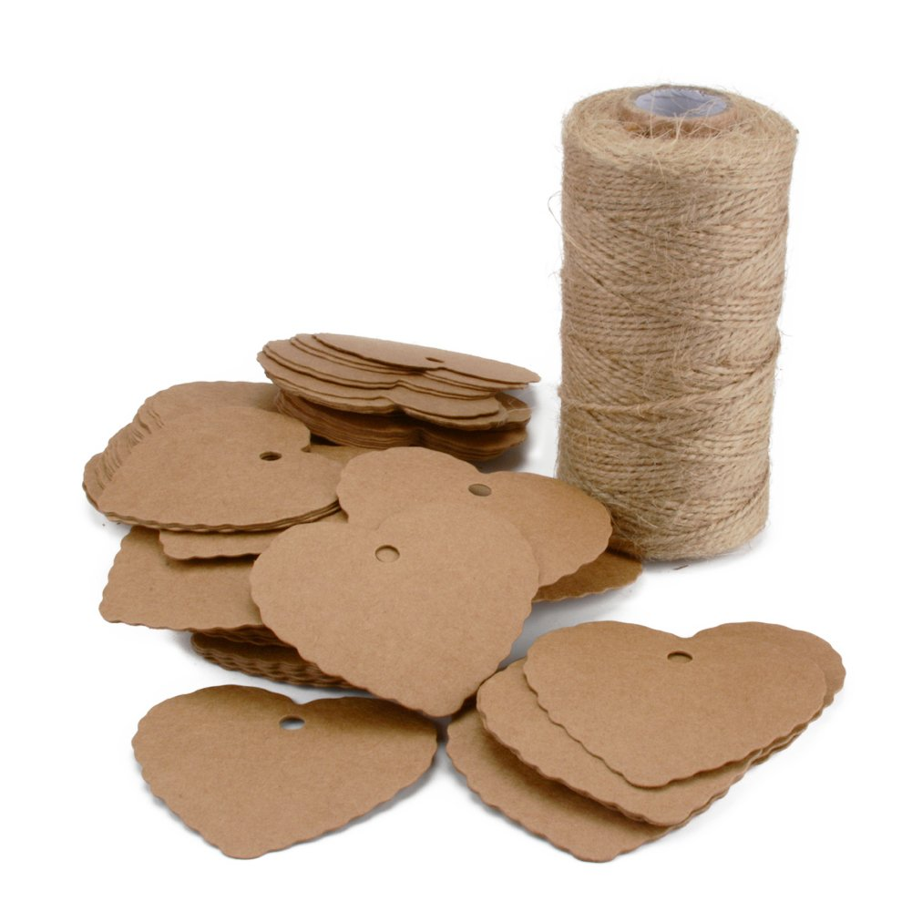 Kraft Paper Gift Tags 100PCS Paper Price Tags Blank Label Brown Paper Tags with 328 Feet Natural Jute Twine for Arts and Crafts (Heart Shape Paper Tag)