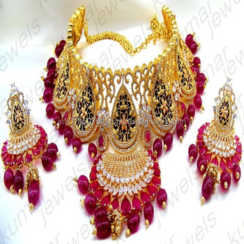 0787da83875546 Designer Heavy Wedding Wear Ruby Color Stone CZ Diamond Look Bridal Wear  Indian Choker Necklace Set