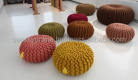 indian rope pouf knitted pouf