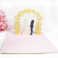Romantic Valentine's Day Gift Card 3D Wedding Invitation Laser Cut Pop Up Card