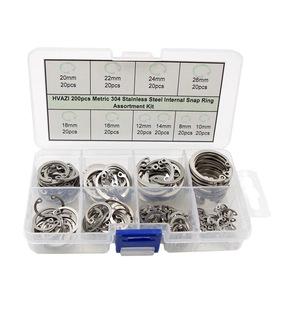HVAZI 200pcs Metric 304 Stainless Steel Internal Snap Ring Assortment Kit 10 Kinds