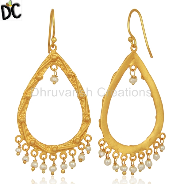Handcrafted Wholesale Earring Jewelry Manufacturer of 925 Silver Natural Pearl Gemstone Earrings