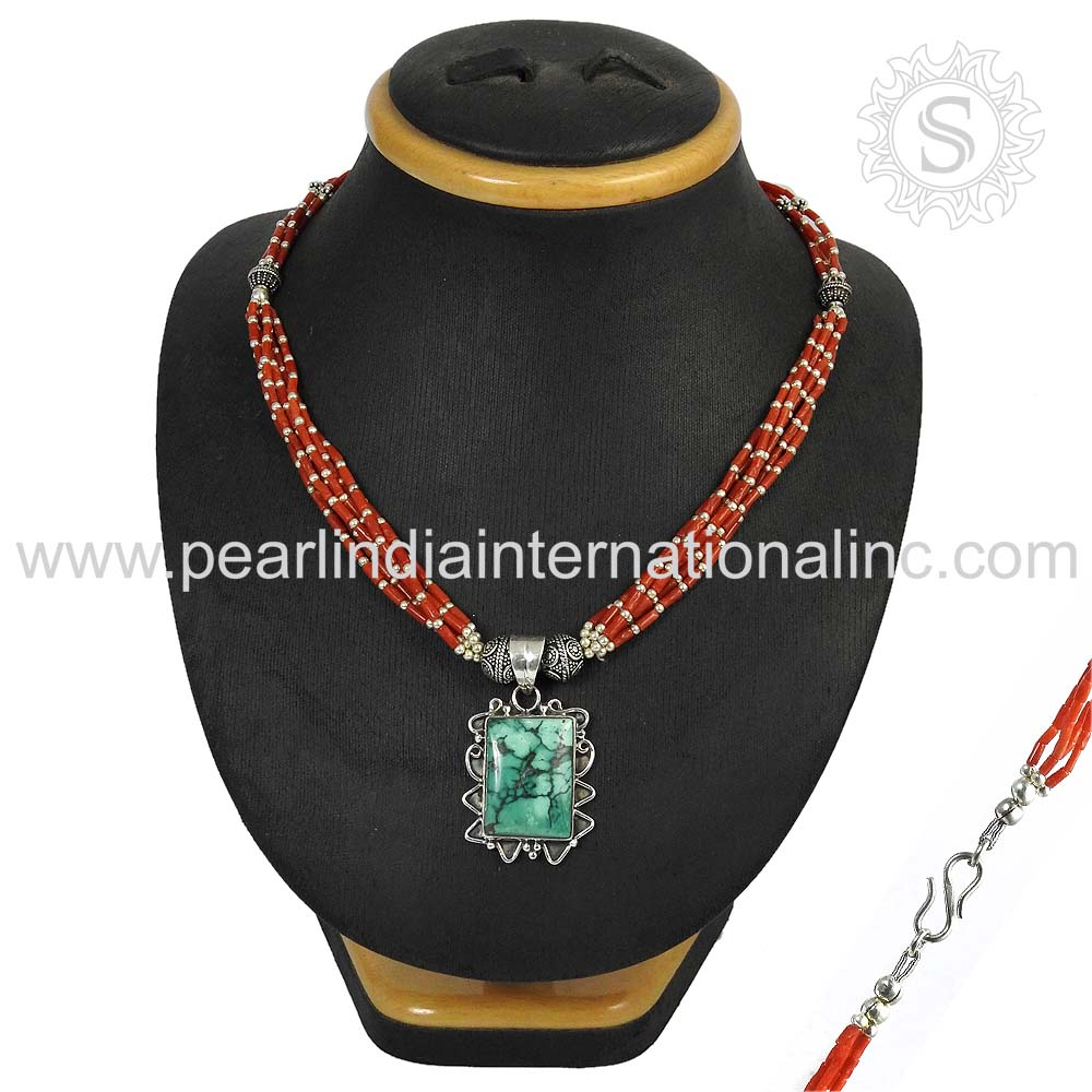 Coral & turquoise beads gemstone silver jewelry 925 sterling silver necklace online jewelry handmade silver necklace