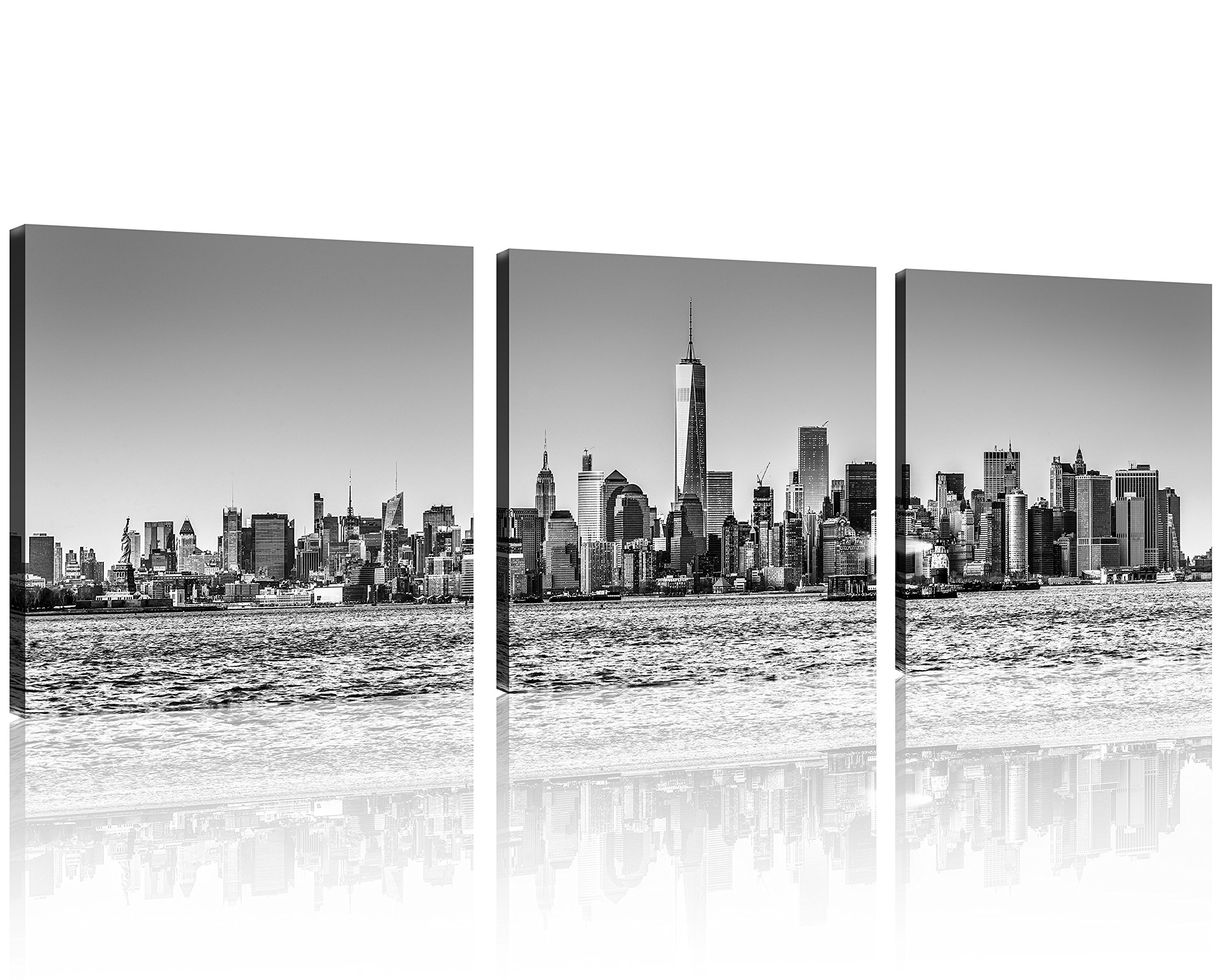 QICAI 3 Panel New York Skyline Wall Art City Black White Prints On Canvas And Cityscape The Picture Nyc