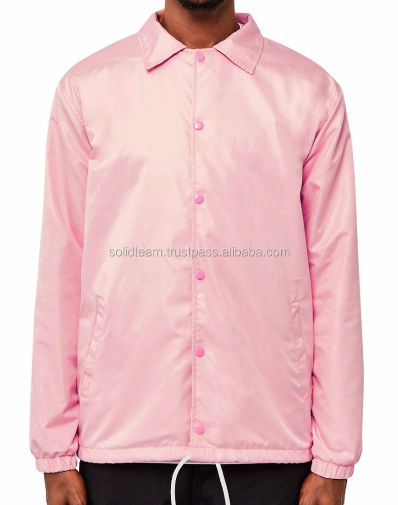 Men's Custom Pink Coaches jacket/Custom printed Coaches jacket/Nylon Coaches jacket