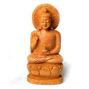 Factory Hot Sale Indian Handcrafted Natural Wooden Buddha Figurine Fine Carving