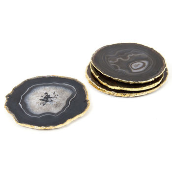 black agate coasters with gold trim -  Agate Coasters Gold Electroplating Coasters Mats & Pads Manufacturer