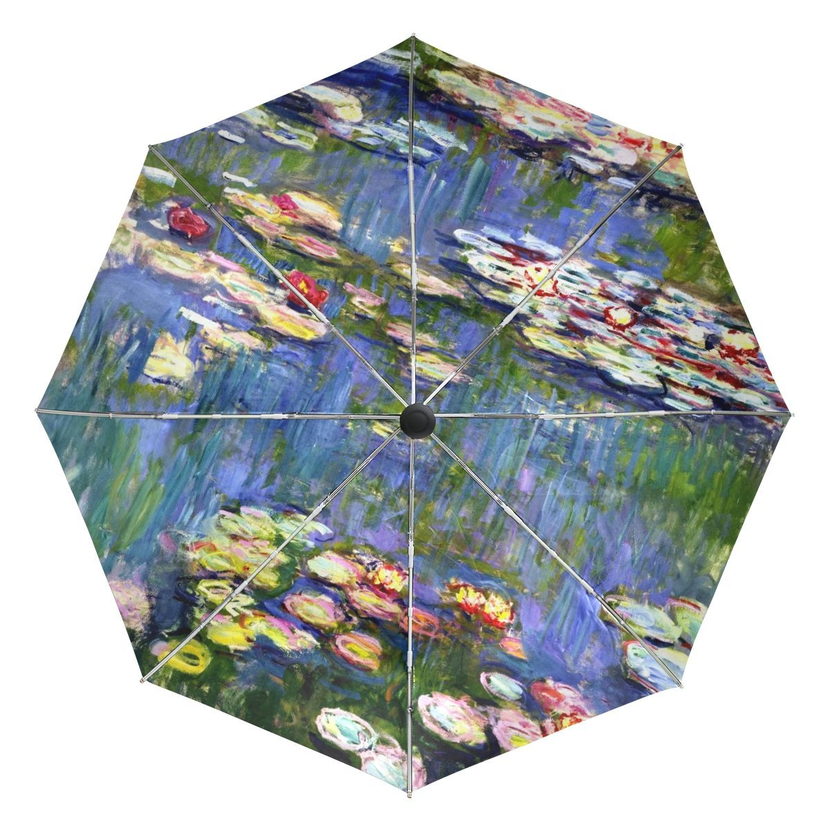 783f5d2eed8293 Get Quotations · BAIHUISHOP Monet Painting Windproof Umbrellas Auto Open  Close 3 Folding Golf Strong Durable Compact Travel Umbrella