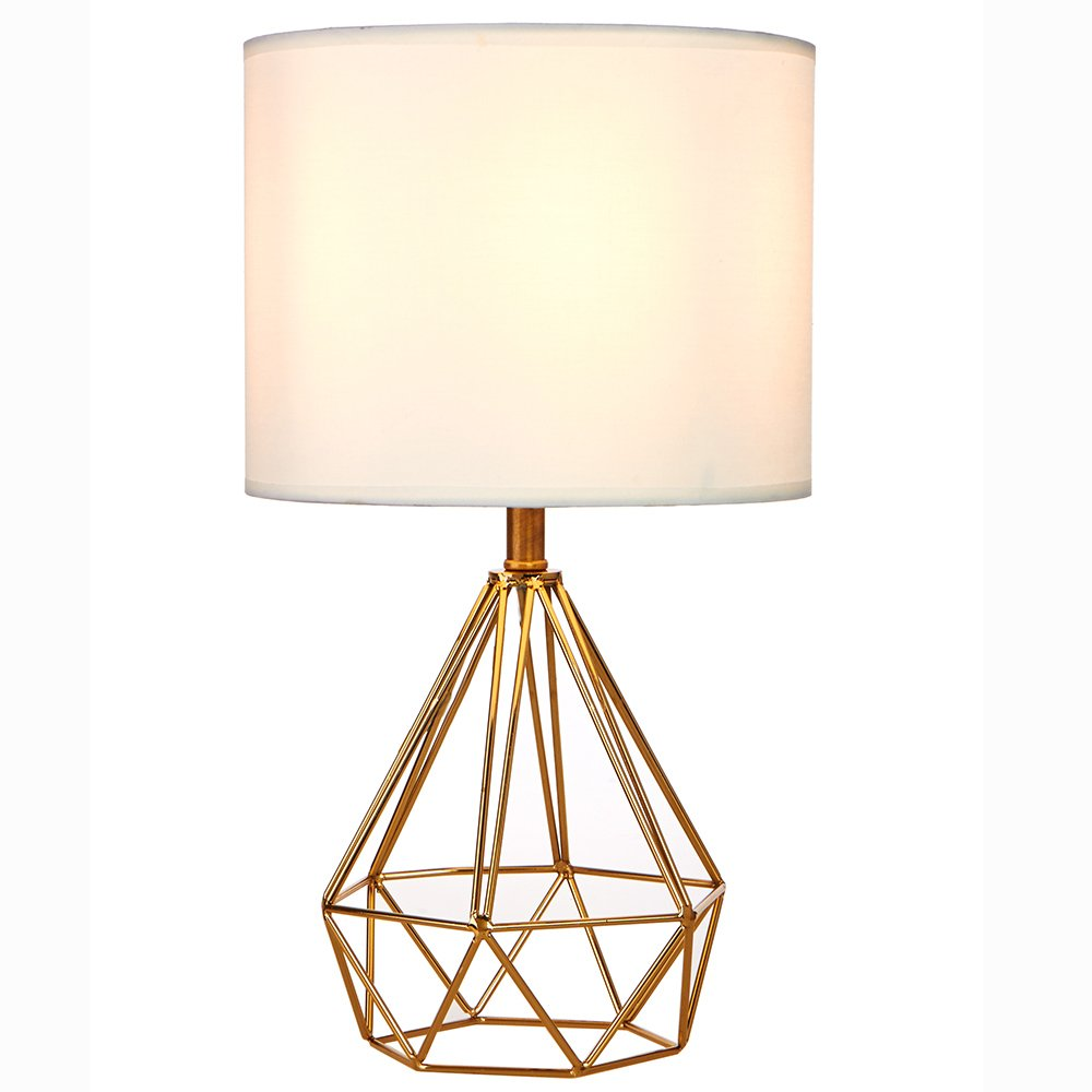 SOTTAE Modern Fashionable Desk Lamp Golden Hollowed Out Base Livingroom Bedroom Side Table Lamp,White Fabric Shade