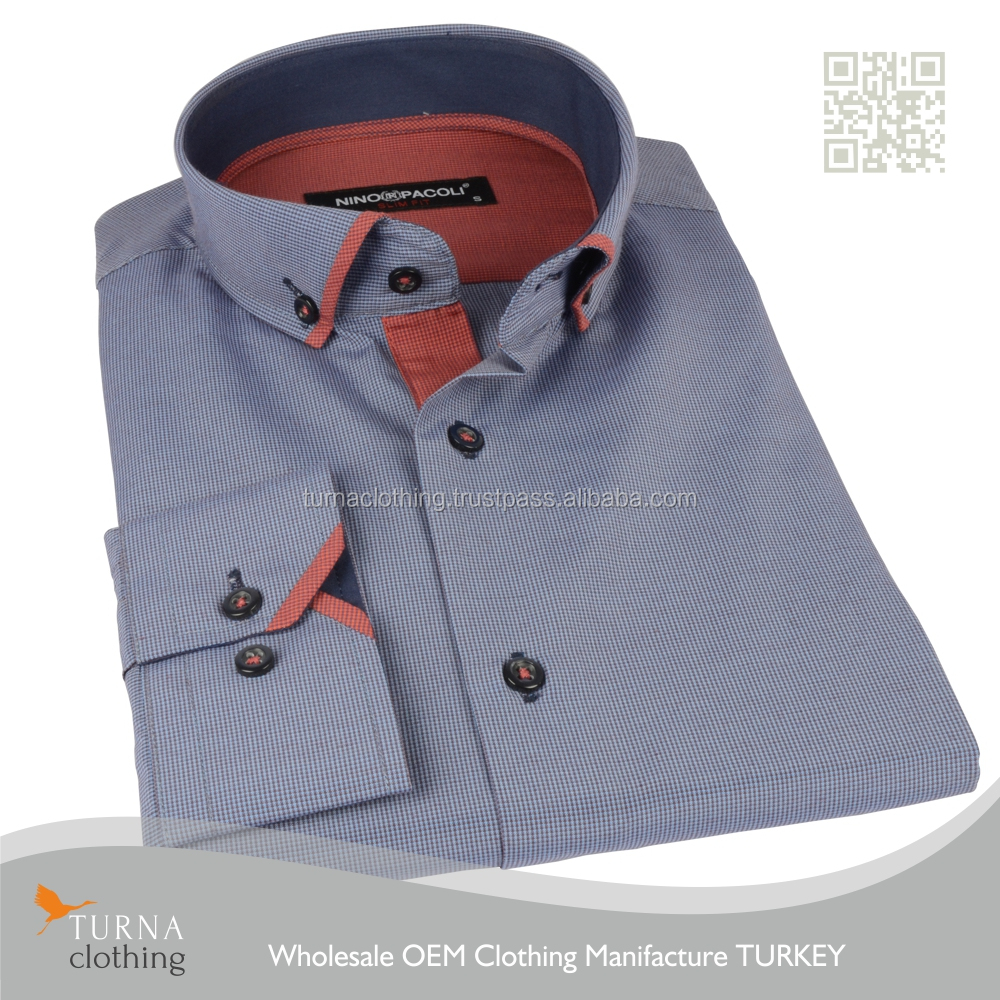 Latest Shirt Designs Contrast Color Collar And Cuff High End Dress