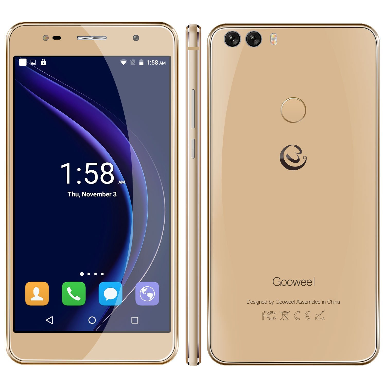 Gooweel M8 cell phone Fingerprint ID Dual 2.5D Glass 5.5 inch HD IPS screen MTK6580 quad core Mobile phone 1GB+8GB 13.0MP smartphone(Gold)
