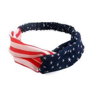 American Flag July 4th Usa World Cup Head Wrap USA Knotted Fabric Stretch Turban Headband