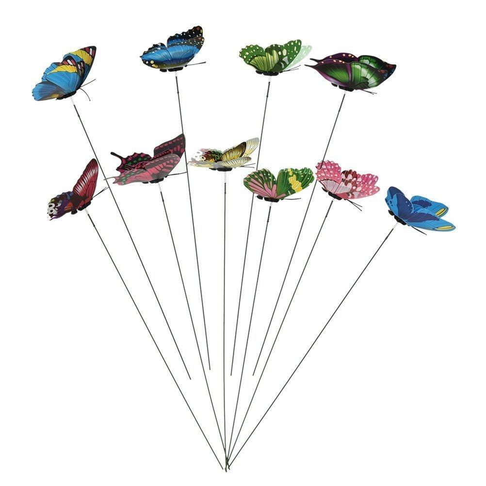 Eshylala 10 Pcs Miniature Fairy Garden Colourful Garden Butterflies On Sticks Flower Plant Pot Decoration Craft