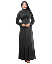 New Stylish Dark Grey Color Plain Velvet Embosed Dubai Abaya Burkha With Waist Belt + Hijab Scarf 2018