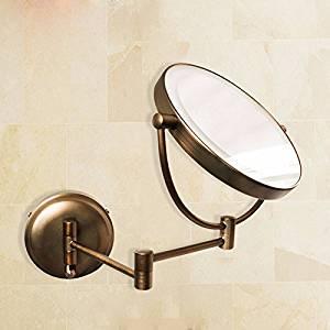 Bathroom mirrors The LED lights mirror makeup mirror bathroom mirrors folded telescopic mirror continental metal retro beauty mirror vanity mirrors