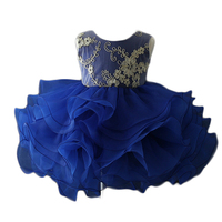 2019 new model frocks dresses blue handmade flower baby 1 year old new years eve party dress