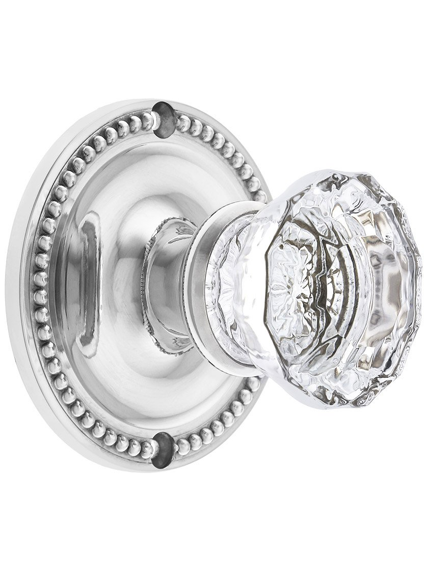 Large Beaded Rosette Door Set with Fluted Glass Knobs Privacy in Polished Nickel