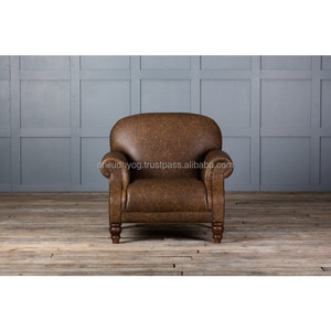 OLD AGED LEATHER CLUB CHAIR/Vintage leather one seat Sofa/Leather Arm Chair