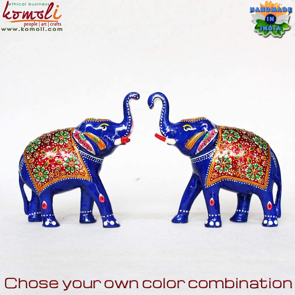 Enamel Working Elephant Decor Figurines