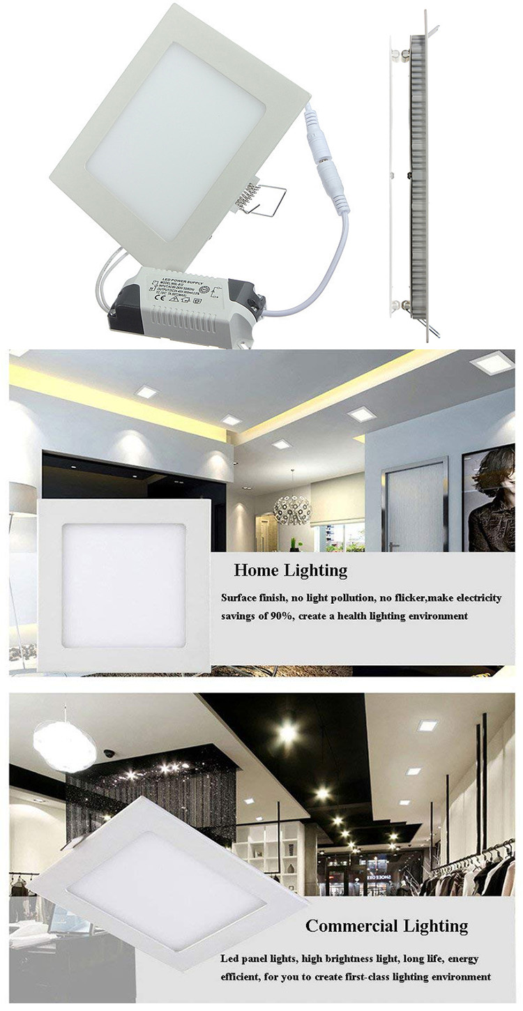Standard sizes ultrathin led panel light recessed led square panel light fixture roof led panel light