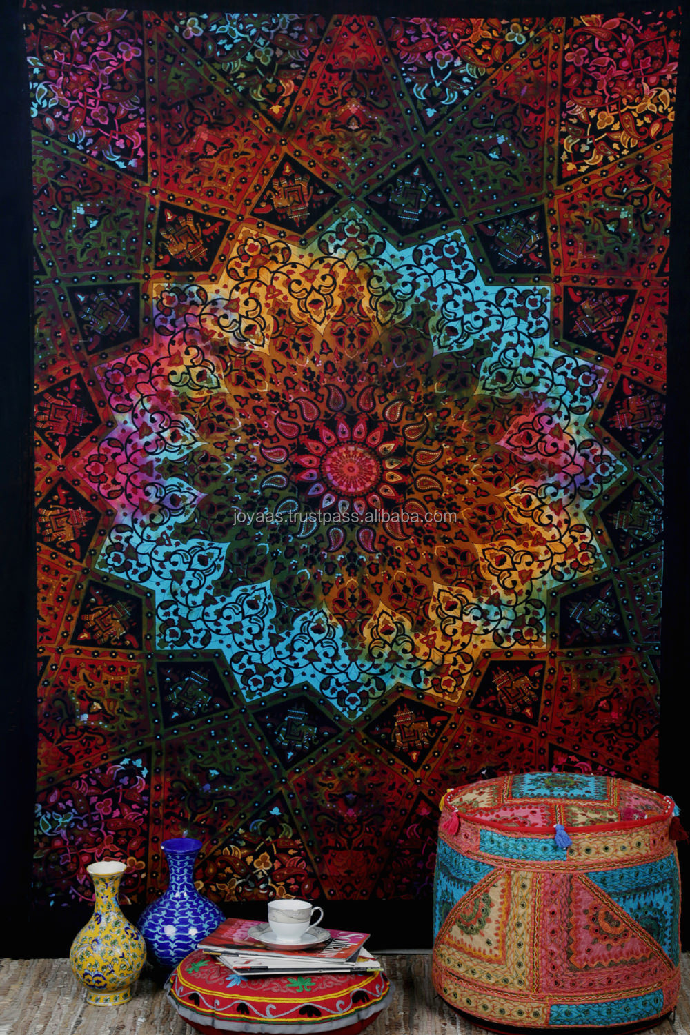Tie Dye Psychedelic Mandala Tapestry Hippie Wall Hanging Indian Decor Bedspread