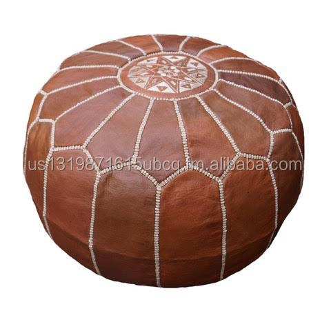 Moroccan Handmade Leather Floor Pouf