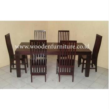 Teak Minimalist Dining Set Chair Solid Wood Table Indoor Room
