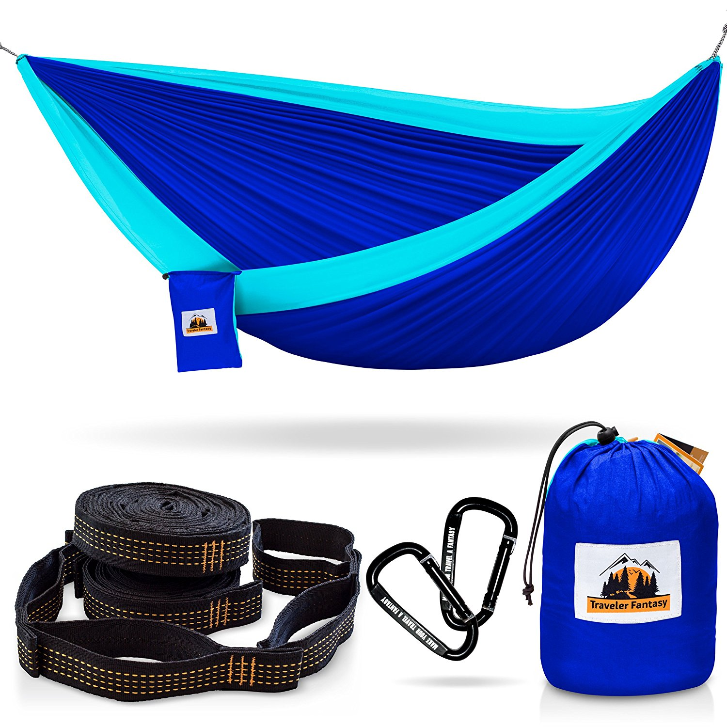 Traveler Fantasy Hammock for Camping Complete Bundle - 70% OFF! - HUGE Sale! Ending Soon!- Top Rated, Portable – Includes: Double Parachute Hammock, 2 Heavy Duty 10' Tree Straps, Carabiners, Gift