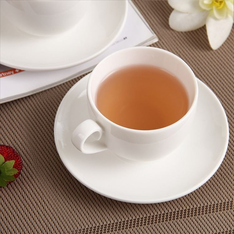 Ceramic Tea Cup Set Including And Saucer With Bamboo Rack Use For Home