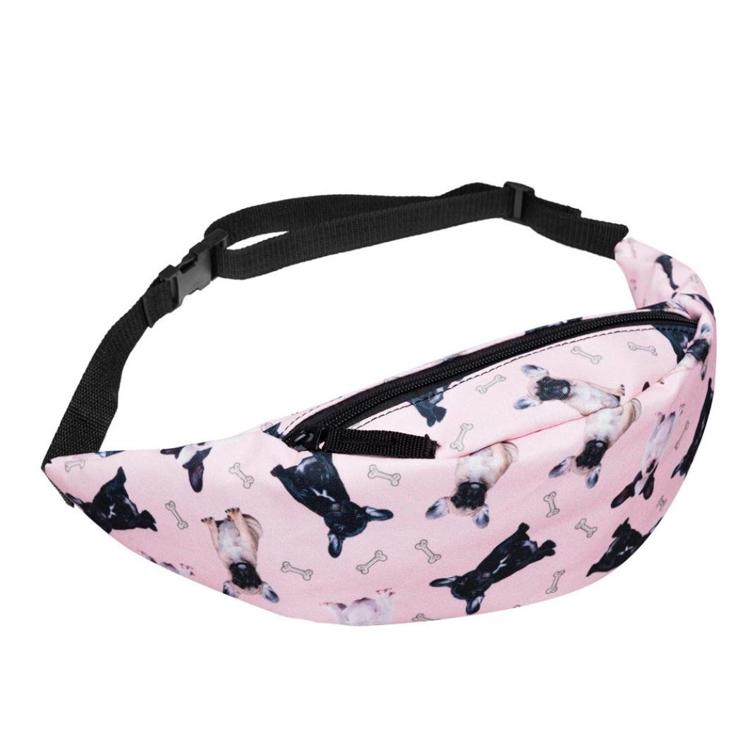 Casual Fanny Pack, Jhuivd Fashion Sports Hiking Running Belt Waist Bag Pink