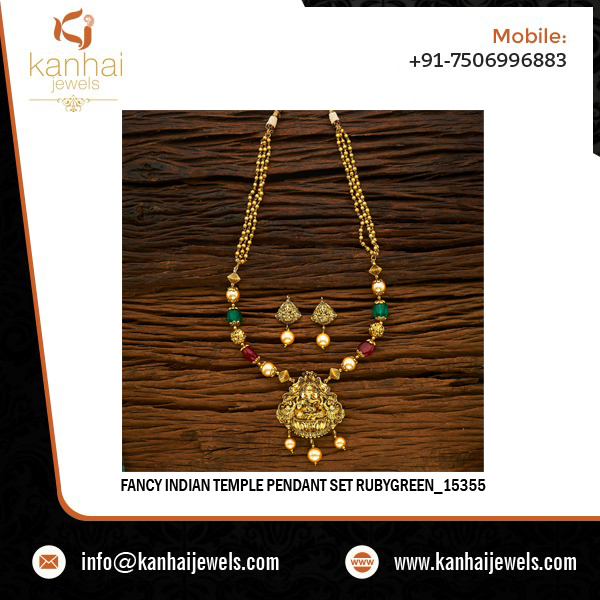 Fancy Indian Temple Pendant Set Rubygreen - 15355