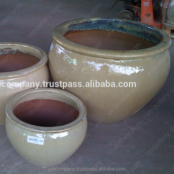 Whole Outdoor Glazed Pottery Outdor Clay Planters Ceramic Flower Pots Garden