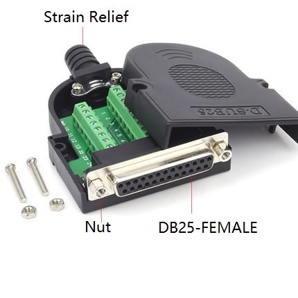 EZSync Female D-Sub DB25 Terminal Block Adapter Kit, Solderless Breakout, 2X Pack, DB25 Female, Positioning Nuts, EZSync908