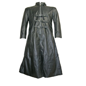 mens long leather 3 buckle Gothic coat black