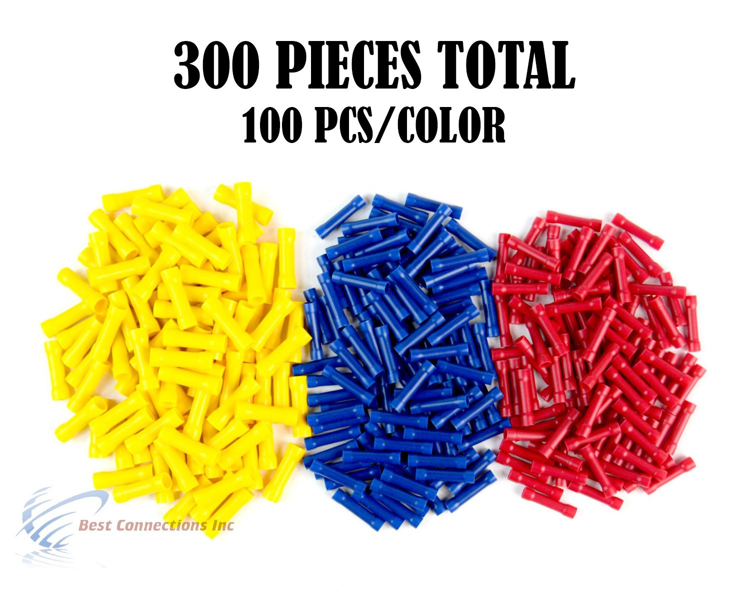 300 PCS Red Blue Yellow Vinyl Butt Connector 22-10 Gauge 12V Electrical Install