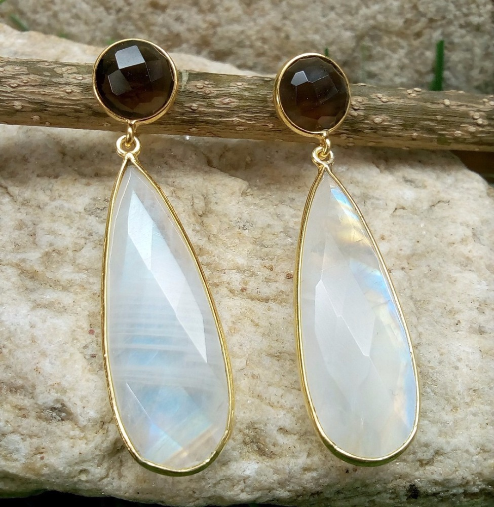 Lovely Pear shape Rainbow Moonstone and Smokey Quartz 925 Sterling Silver Wholesale Earrings