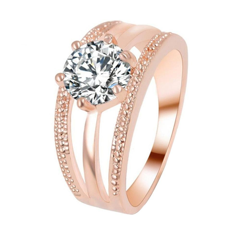AutumnFall Women Fashion Wedding Engagement Ring Silver Plated Alloy Crystal Jewelry Rings 2# (Size 9, Rose Gold)