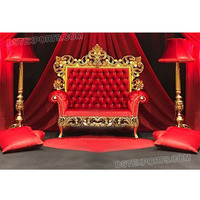 Stylish Wedding Red Throne Sofa Wedding Event Maharaja Stage Sofa Wedding Elegant Love-Seat for Bride Groom